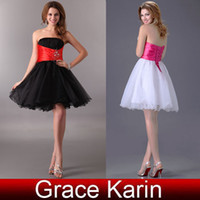 GK Stock Mini Chiffon Prom Dresses Strapless Ball Gown Party...