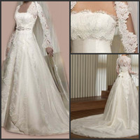 Wholesale Vintage Design A line Chapel Train Long Sleeve Lace Coat Corset Wedding Dress Bridal Gowns Dubai