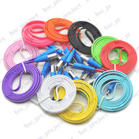 Wholesale 3FT Smile Face LED Lights Flat Noodle Micro V8 V9 USB Data Sync Charger Cable for Samsung i9500 i9300 i9295