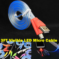 Wholesale Noodle Flat Micro USB Visible Charger Cable Shaped Colorful FT LED Luminous Data Charging Cable Line For Samsung S3 S4 S5 HTC M7 M8