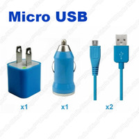 Wholesale A2 in Travel Kit Micro USB Sync Data Cable Wall Adapter Car Charger For Samsung S3 S4 S5 i9500 Blackberry HTC LG