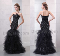 Wholesale Luxury black layered tulles sexy sweetheart backless bridal gowns sleeveless sequins ruffles mermaid wedding dresses DH00220