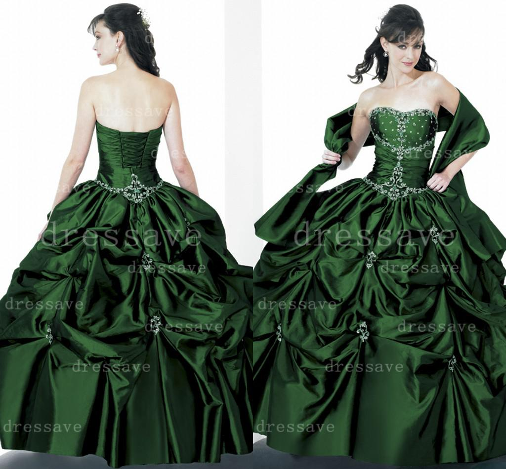 Ball gown prom dresses 2014 - 2014 Dark Green Ball Gowns Floor Length Sleeveless Strapless