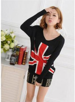 Wholesale 2013 Spring and Autumn cotton loose big yards bat British Union Jack sweater long sleeve V neck sweater