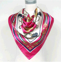 Wholesale 90 cm Fashion Ladies Big Square Polyester Silk Scarf Printed New Arrial Women Brand Satin Wraps Blue Rose Red Black Orange