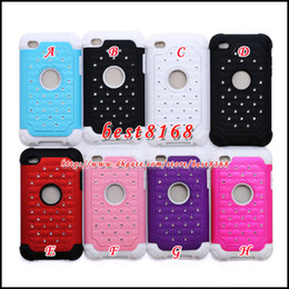 Wholesale Hybrid diamond rhinestone crystal plastic silicone gel Case for ipod touch th dual color layer fashion bling skin cover cases