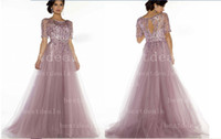 New Dusty Rosy Pageant Evening Dresses Jewel Half Sleeves El...