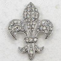 Wholesale C323 A Clear Crystal Rhinestone Fleur De Lis Sign Brooches Fashion Costume Pin Brooch amp Pendant