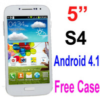 Wholesale S4 I9505 Unlocked Android Cell Phone Inch Capacitive Screen G GSM Wifi FM Dual Camera Quad Band M Horse Leather Flip Case DHL