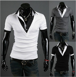 Wholesale New Mens Casual Slim Stylish Slim Short Sleeve False Two Piece Slim T shirts