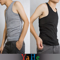 Wholesale Men Tank Top Gym Vest Fashion Summer sleeveless Square Collar Cotton for men Vest YAHE Brand MC3001B