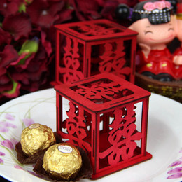 Chinese Style Wedding Candy Favors Red Candy Wooden Pierced Xi Word New Unique Sweetbox New Favor holders Candy package For Theme Party