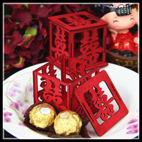 Wholesale Chinese Style Red Wooden Pierced Xi Word New Unique Sweetbox New Wedding Candy Favors Favor holders Wedding Candy package For Theme Party
