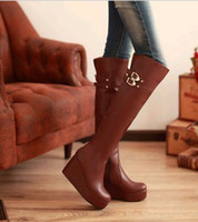 Wholesale New arrival fashion banquet super sweety princess knight waterproof slope buckle noble wedge knee boots EU34