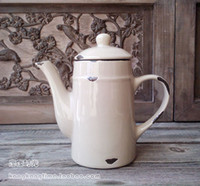 Wholesale Enamel ceramic retro finishing coffeecakes teapot water bottle vintage zakka