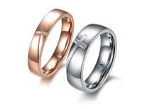 Unisex religious jewelry - Brand new lover s cross titanium stainless steel rings shining crystal couples religious exquisite rings fashion jewelry high quality