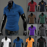 Men Cotton V_Neck Hot sale New Summer Men's T-shirts Korean Casual Slim Deer embroidery Men's Polo shirts Men's Short Sleeve t shirts #2678