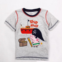 Round Neck Boy Summer C4161#Nova 2013 New Navy captain Peppa pig boy summer tops cartoon T-shirt short sleeve tees 100% cotton kid cool clothes