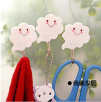 Wholesale Creative Home cute white clouds strong adhesive hook Multipurpose Utility Hook loading
