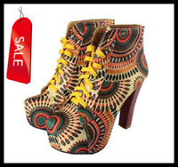 Wholesale 2013 Western Chic floral print lace up chunky thick heel squared toe lace up high heeled women s winter autumn boots size to