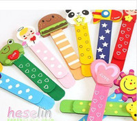 Wholesale Cartoon wooden coloured drawing or pattern bookmarks dividing ruler Creative color with ruler pattern with scale sub