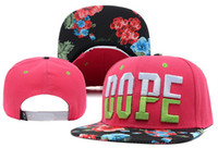 Wholesale Dope Script Floral Snapbacks Red cotton hip hop street headwear sports hats adjustable baseball caps fitted hat