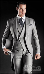 Wholesale Beautiful Light Grey Morning Suits Groom Tuxedos Suit Jacket Pants Vest Tie Kerchief