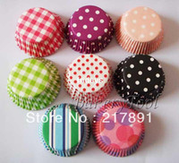 Wholesale safe food paper BAKING CUPS polka dots CUPCAKE LINERS gride pattern muffin cases mixed colors FDA EC