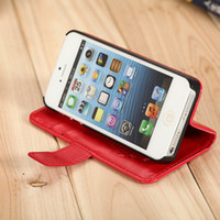 For Apple iPhone Leather White Wholesale -DHL free Wallet ID Credit Card KickStand Flip Leather Purse Case Back Cover for Apple iphone 5 5G 5C 5S