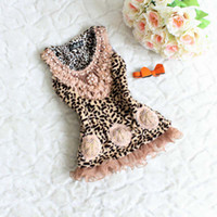 Wholesale Girls Condole Belt Children Tank Tops Sleeveless T Shirt Princess Vest Fashion Leopard Print Tank Tops Kids Cute Pearl Lace Collar Waistcoat