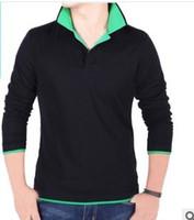 Men 100% Cotton  2013 wholesale Mens Long Sleeve T-Shirt men bottoming shirt polo