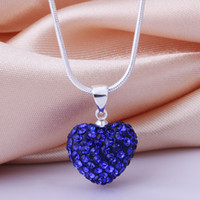 Wholesale Jewelry Shamballa Heart Necklace Silver MM Blue Crystal Heart Pendant Necklace quot