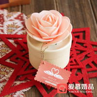 Wholesale Romantic Pink Rose Flower Candy Boxes Round Cardboard Wedding Favor Holder Party Gift Box a