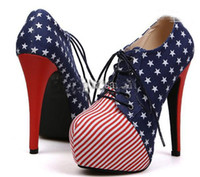 Women Pumps Stiletto Heel Euramerican woman flag pattern fashion short boots pumps female ladies ankle naked boots shoes heels