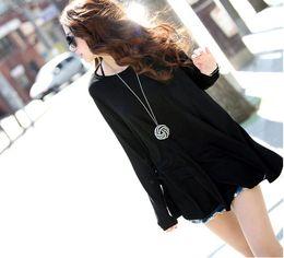 Wholesale Autumn Autumn fashion long sleeved black women T shirt Korea maternity Fashion clothes tops