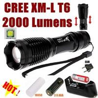 Wholesale UltraFire E007 CREE XM L T6 Lumens Mode LED Zoom Flashlight T6 Light AAA Battery charger