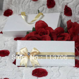 Wholesale Luxury Wedding Cards with Ribbons T067 golden ribbon