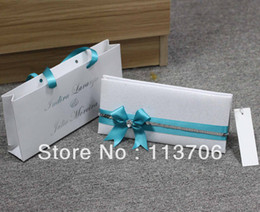 Wholesale Luxury Wedding Cards with sky blue Ribbons T067