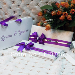 Wholesale Luxury Wedding Cards with Ribbons T067 Purple ribbon