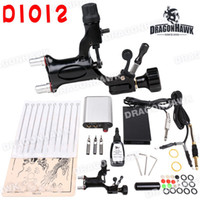 Wholesale Beginner tattoo starter rotary Kit rotary dragonfly machine black ink power supply needles set equipment D1012
