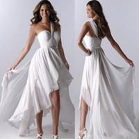 A-Line white high low dresses - 2014 Cheap Beach Wedding Dresses High Low One Shoulder Ruffles Chiffon Sleeveless Sexy white Bridal Gowns Dhyz