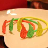 Wholesale Newest Fashion Womens Punk Style Double Angel Wings Cuff Bangle Bracelet candy color