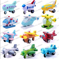 Wholesale LLFA2064 Mini Funny Colorful Wooden Plane Models Toys With Small Wheels Helicopter Air Bus Best Gifts For Kid