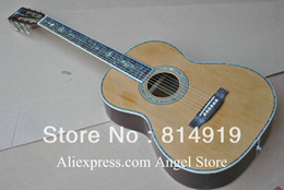 Wholesale 39 inch classic Acoustic Guitar natural Solid spruce Tree of life inlay fret board Abalone Binding Body