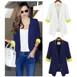 Wholesale Women Fashion Zip Skinny Blazer Zip Mid Jackets Half Sleeve Coat Overcoat ZH290Z