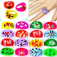 Wholesale Resale Mixed Resin Lucite Rings Bulk Jewelry LR03