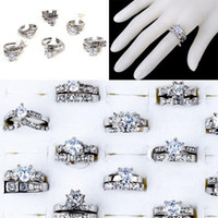 South American Unisex Wedding Rings Jewelry Lots 10pcs Clear Cubic Zircon CZ Platinum P Womens Wedding Bridal Rings [CZ129*10]