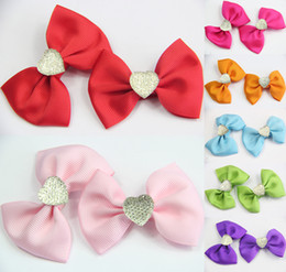 Wholesale 14PCS GIRLS BABY TODDLE HAIR BOW CLIP LARGE CUTE DIAMOND ALLIGATOR CLIP Ribbon Accessories Christmas Hair Clips CN026