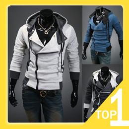 Wholesale 2013 New Men s Korean Style Slim Hooded Sweatshirt Assassin s Creed III Hoodie For Men M XXL gray blue A4055