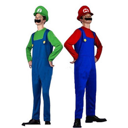 Wholesale Cosplay Adult Costume Super Mario Games Uniform Pieces Suits Costume Ball Props Costume Halloween Adult Costumes Colors KH0866